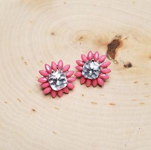 Peachy Pink Flower Burst Rhinestone Stud Earrings